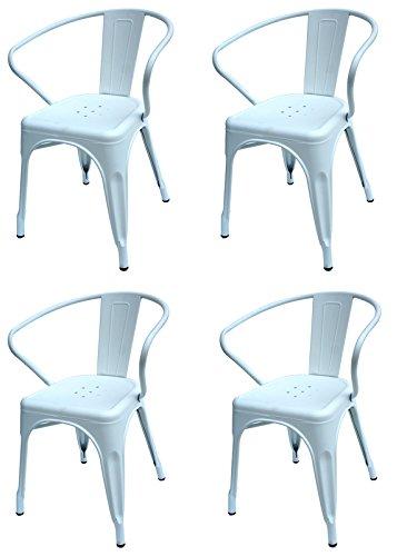 Francisco Segarra - Pack De 4 Sillas Estilo Industrial Vintage Con Brazos Modelo Dres Blanco Mate (Set De 4 Unidades)