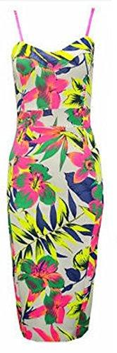 Generic - Robe - Moulante - Sans Manche - Femme Multicolore bigarré Taille Unique Multicoloured Tropical Green