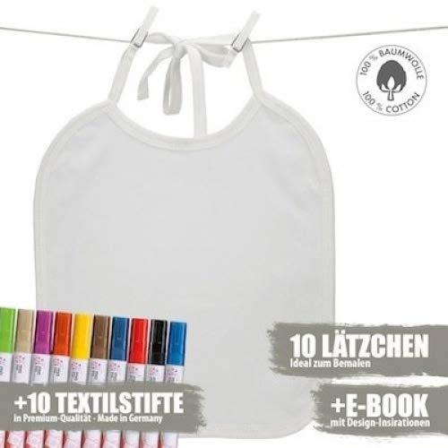 Booga Baby 10 Weiße Lätzchen zum Bemalen für Babyparty, inkl. Ebook und 10 Marabu Textilstiften, 25cm x 30cm, Weiß