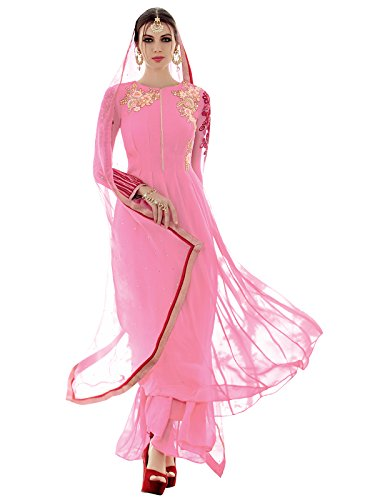 Kanchnar Pink Party Wear Embroidered Semi-Stitched Georgette Salwar Kameez With Dupatta