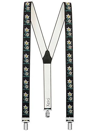 Hochwertige Xeira® Hosenträger in Trendigen EDELWEIß Design - 3 Clips - Verfügbar in 20 Farben! (Normale Länge, Schwarz)
