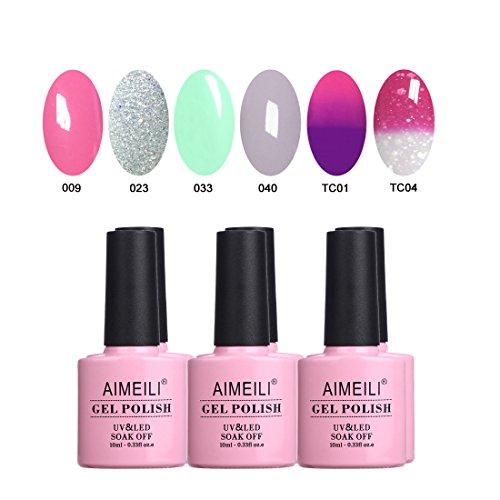Aimeili smalto semipermente per unghie in gel uv led kit per manicure smalti gel per unghie colorati set 6 x 10 ml - set numero 3