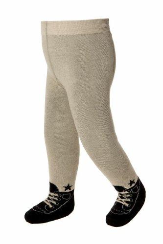 Baby Strumpfhosen im Schuh-Design für Jungen - weiche Baumwolle & Anti-Rutsch-Sohlen - 6-12 Monate (Braun)