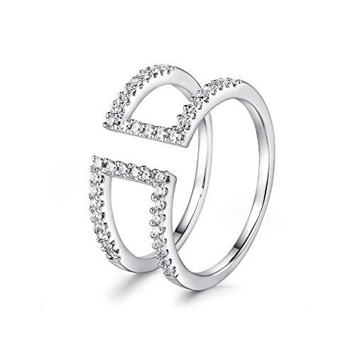 barbie, anello da ragazza e donna, anello in oro bianco, anello con due cerchi, anello moda , anello di squisita fattura #BSJZ062 (17.7)