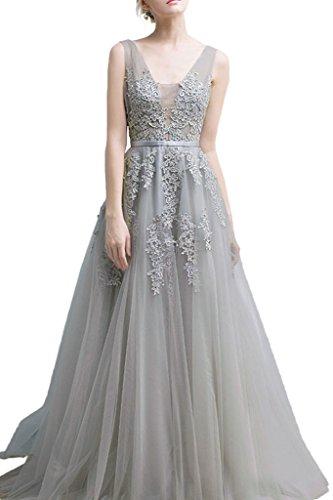 Milano Bride Damen Huebsch V-Ausschnitt Abendkleid Tuell Ballkleider Promkleider Spitze Applikation...