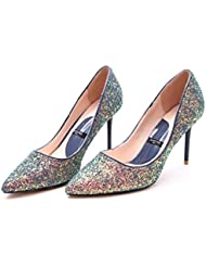 ALUK- Europa y los Estados Unidos - los zapatos de lujo de la boda de los cequis señalaron gradiente con los zapatos de la manera de los altos talones ( Color : Azul , Tamaño : 38-Shoes long240mm )