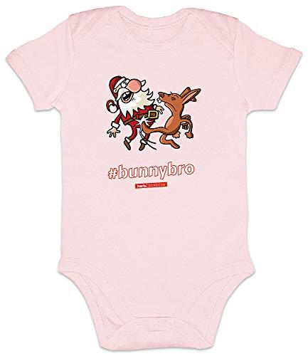 HARIZ Baby Body Kurzarm Pixbros Bunnybro Xmas Weihnachten Kinder Geschenke Winter Inkl. Geschenk Karte Zuckerwatte Rosa 12-18 Monate
