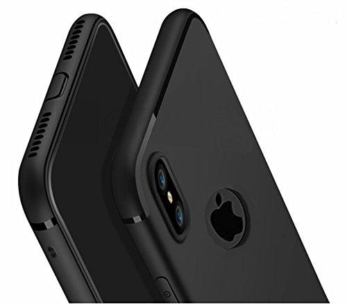 [PfX] Schwarz Matte iPhone XS / X Special-Edition TPU Silikonhülle (5,8 Zoll) mit integriertem Staubschutz Ultra-slim (0,5mm dicke) (Schwarz)