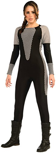 Ladies Black Katniss Hunter Jumpsuit Fancy Dress Costume