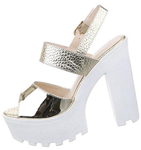 Damen Sandaletten Schuhe High Heels Stiletto Abendschuhe Business Club Pumps schwarz bronze gold silber 36 37 38 39 40 41 Gold