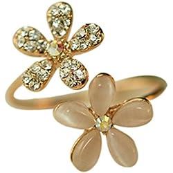 Mengonee Las mujeres ópalo Rhinestone Flores pequeña margarita Aberturas Anillo ajustable de la joyería del anillo de flores de cristal Mujer