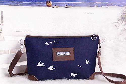 Umhängetasche Damen Reißverschlusstasche Ledertasche Vögel Schwalben Möven Weiß Blau Braun,...