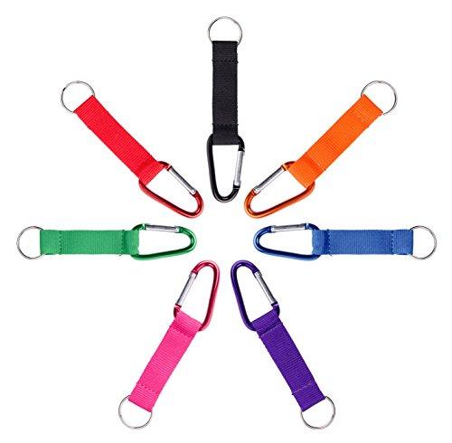 Karteo® Schlüsselband | Kurzband Karabiner und Schlüsselring | Schlüsselanhänger grün mit Metallkarabiner Transponder Ring