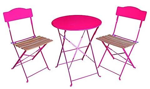 Ensemble 3 pièces pour terrasse : 1 table ronde + 2 chaises - Style bistrot - Coloris ROSE