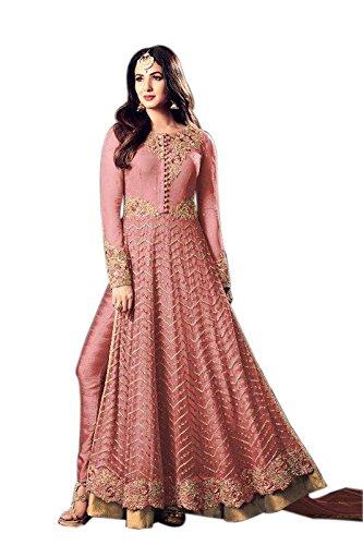 Aryan Fashion Women's Semi-Stitched Net Anarkali Salwar Suit Set (Fa-Wer11054_Pink-F5_Free Size)