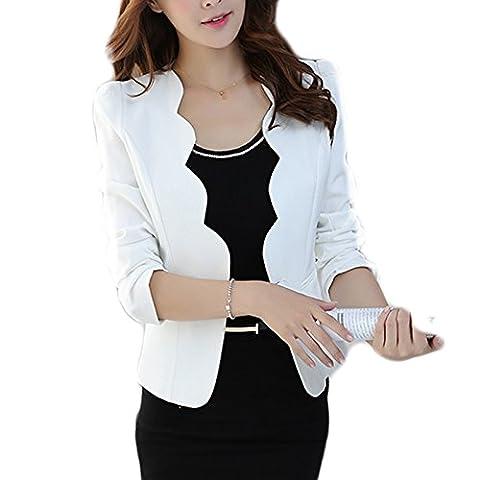 Femme Veste de Tailleur Slim Blazer Courte Casual Jacket Boléros (M, Blanc)