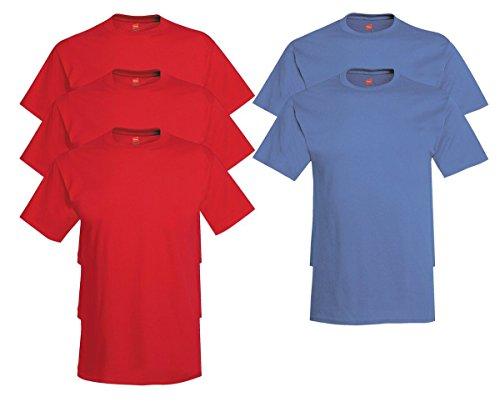 Hanes Comfort Soft Crew Neck 5 Pack Tee (Pack of 5) 3 Deep Red / 2 Denim Blue