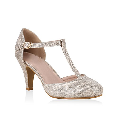 Damen Pumps Mary Janes Glitzer T-Strap High Heels Party Schuhe Gold Glitzer 36 Flandell