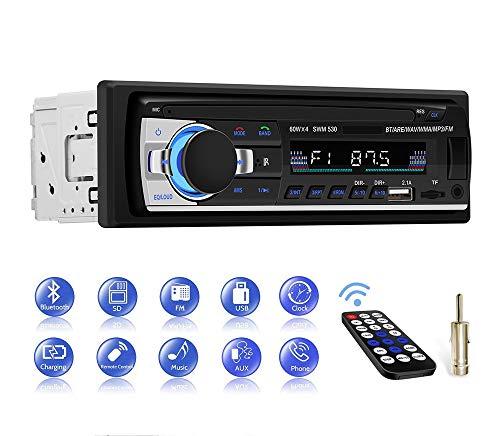 Autoradio Bluetooth Main Libre, CENXINY Radio Voiture avec télécommande, Lecteur MP3, Prise en Charge de Carte TF USB Double auxiliaire, Radio FM stéréo pour Connexion Voiture et DIN, Deux Ports...