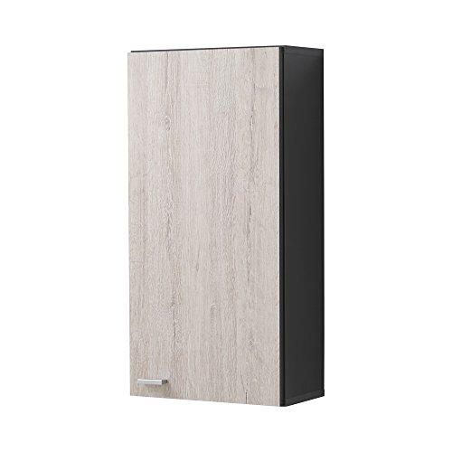 FMD Nepal 1 armario de pared para baño, 34 x 67,5 x 16,5 cm, antracita/madera de roble de arena
