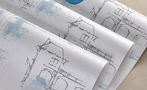 HNZZN Mediterranen Stil Tapete Wohnzimmer Schlafzimmer TV Hintergrund wallpaper Griechische Antike Architektur Tapeten, Pn 3581 Blau
