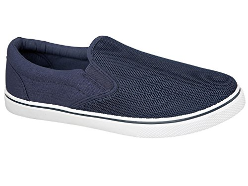 Mens Montgomery Canvas Slip On Casual Plimsoll Espadrille Pumps Loafers Deck Trainers Shoes Size 7-12 (UK 10, Navy)