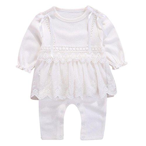 Kinder Strampler, DoraMe Baby Mädchen Lange ärmel Solide Overall Bogen Spitze Outfits Baumwolle O-Ausschnitt Jumpsuit (Weiß, 6 Monate) (Babys Halloween-outfits)