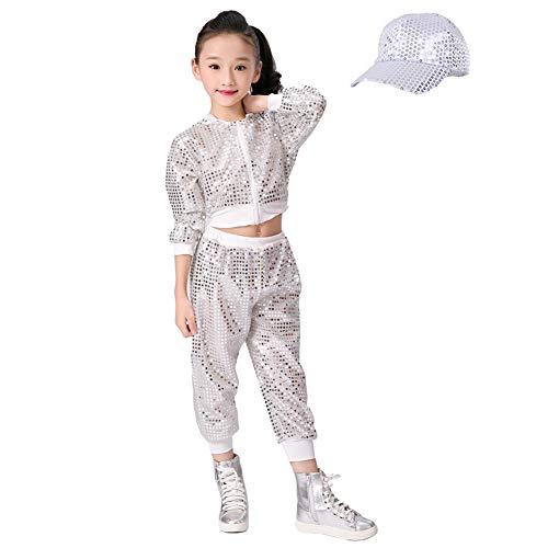 letten Hip Hop Kostüm Street Dance Kleidung gesetzt (140, Silber) ()