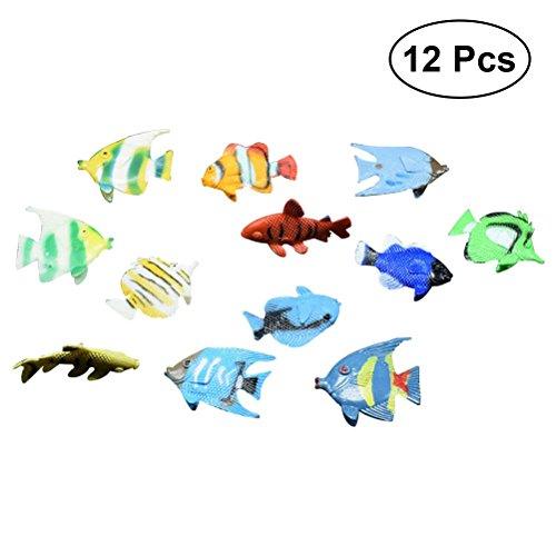 TOYMYTOY 12 stücke Kunststoff Mini Fisch Spielzeug Simulation Tropische Fische Abbildung Modell Vorschule Kinder Lernspielzeug (Tropische Fische Kunststoff)