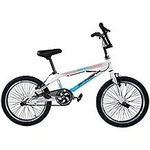 "F.lli Schiano Hard Road BMX - Bicicleta para hombre, color blanco / azul, 20"""