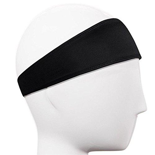 Y56 Elastisches Kopfband Hair Head Band Schweißband Stirnband Haarband Stretch Mens Wrap Elastic Sport Männer Dünne Gym (Schwarz)