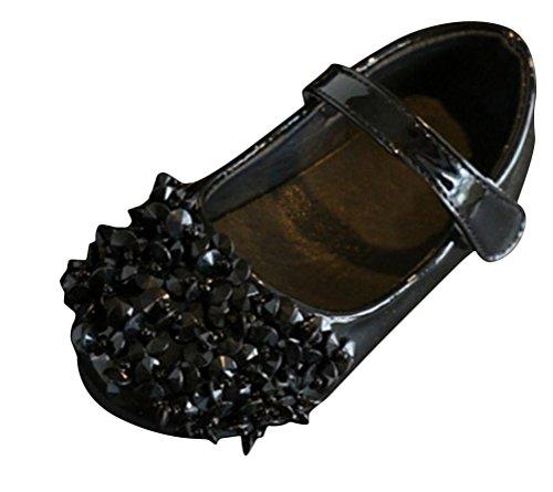 SMITHROAD Mädchen Prinzessin Schuhe mit große Strasse Sandale Freizeit Halbschuhe Hochzeit Kostüm Ballerinas Schwarz Gr. (Xx Kostüme Große)