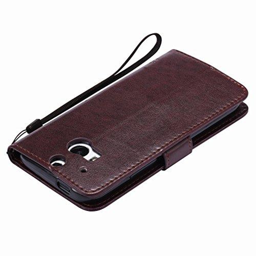 Custodia HTC One M8 Cover Case, Ougger Fortunato Foglia Stampa Portafoglio PU Pelle Magnetico Stand Morbido Silicone Flip Bumper Protettivo Gomma Shell Borsa Custodie con Slot per Schede (Grigio) Marrone