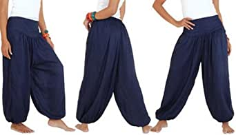 POA02 Trousers harem genie yoga pants aladdin hippie baggy jumpsuit belly dance boho (BLUE)