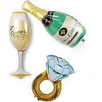 3 Unids globos XXL champagne, copa y anillo ideales para la decoracion de tu boda, mesa de invitados, pedida de mano, San Valentin, en despedidas solter@s, ...