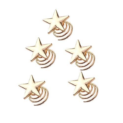 Gespout Pinza Pelo Horquillas de Pelo Niña Mujer Metal Clips para Maquillaje Joyería del Pelo Brillante Peinado Decoración Patrón de Estrellas Amarillo 5pcs 1.8*0.8cm