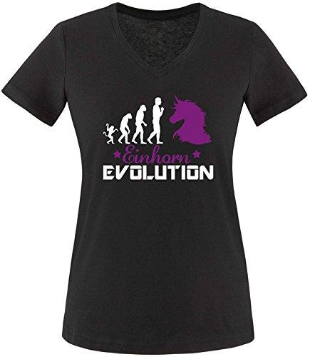 EZYshirt® Einhorn Evolution Damen V-Neck T-Shirt Schwarz/Weiß/Violett