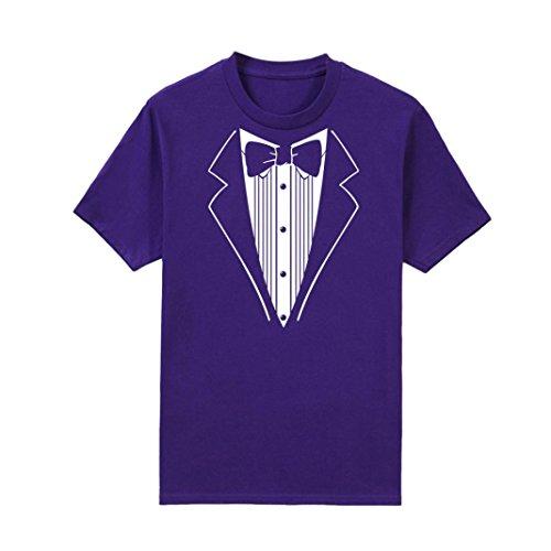 100% Baumwolle Tuxedo (Herren Shirts,Frashing Mens Print Kurzarm Tuxedo Fancy lustige T-Shirt Plus Bluse Baumwolle Tops Lustiges Kurzarm T-Shirt (L, Lila))