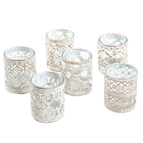 Logbuch-Verlag 6 Teelichtgläser weiß goldfarben Shabby Chic Teelichthalter Metall mit Glas Hochzeitsdeko festlich elegant Vintage Geschenk Tischdeko Windlicht