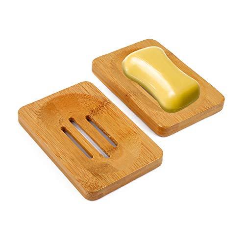 Vegena Seifenschale Holz (2 Stück), Seifenschale Bambus Natur Seifenhalter Seifenablage Seifen Schwamm Halter Schale für Dusche Badezimmer Bad Deko