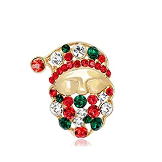 Ansel's Cute Crystal Christmas Santa Claus Brooch Pin Xmas Collar Corsage
