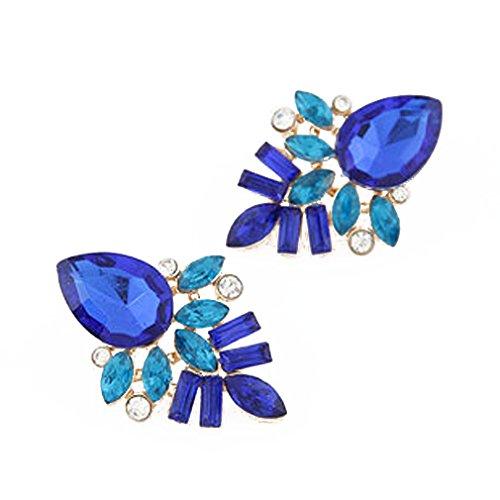 Pendientes de cristal de aleación Yazilind azul con Encanto Waterdrop