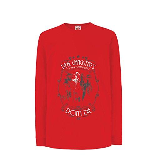 T-shirt bambini/ragazze i veri gangster non muoiono mai - italiano - citazioni mafiose siciliane - il padrino - cosa nostra (14-15 years rosso