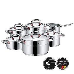 WMF Premium One Topfset 6-teilig, Cromargan Edelstahl poliert, Töpfe mit Metalldeckel, Topf Induktion, Innenskalierung, Dampföffnung, unbeschichtet
