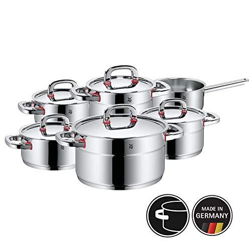 WMF Premium One Topfset, 6-teilig, Metalldeckel mit Dampföffnung, Kochtopf, Stielkasserolle, Cromargan Edelstahl poliert, Induktion, Kaltgriffe, Innenskalierung