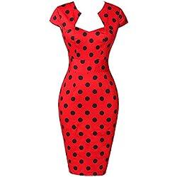 GRACE KARIN Vestidos Rojos Puntos Negros Mujeres Vestidos Vestidos Pin Up Rockabilly XL 2#