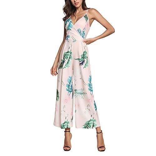 trap Jumpsuits Rückengurt Jumpsuit Ärmellos Spilled Floral Bedruckte Spielanzug Party Hose Rosa M ()