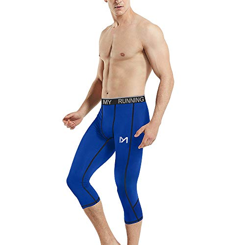 MEETYOO Laufhose Herren 3/4, Kompressionshose Sports Leggings Running Tights Atmungsaktiv Sporthose Männer Fitnesshose für Laufen Yoga Gym Radfahren