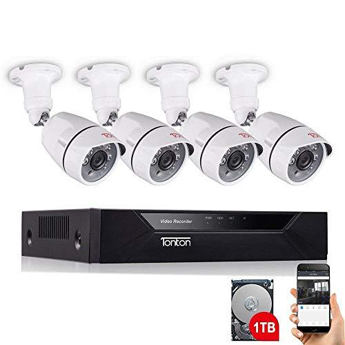 Tonton 8CH Full HD 1080P Audio Überwachungssystem mit 4 Überwachungskamera mit Audioübertragung Mikrofon, 25M Klare Nachtsicht, Outdoor Metallgehäuse, Handy PC MAC Schnellzugriff, MAC, 1TB Festplatte - Dvr Security System