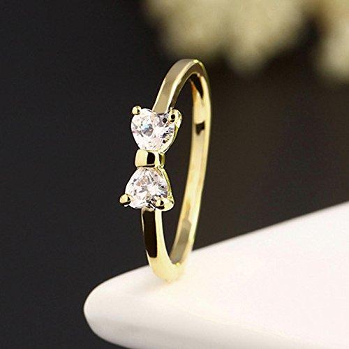 HuaYang mode bijoux or plaqué doigts bague cœur de nœud papillon zircon cristal (Ring Size US9)
